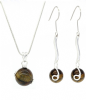 Tiger's Eye Stone Ball Drop Earrings & Necklace Set